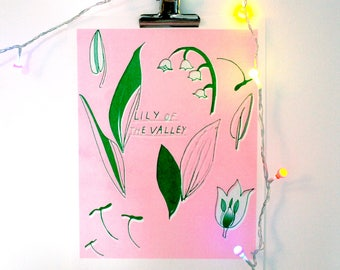 Lily of the Valley Riso Print