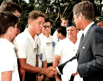 President John F. Kennedy Greets 16 Year Old Bill Clinton in 1963 - 8X10 or 11X14 Photo (EP-875)