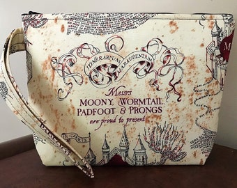 Marauders Map/Harry Potter Inspired Print Large Wristlet