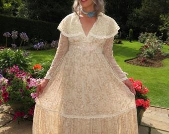 Vintage 1970s Gunne Sax Southern Belle Victorian Style Maxi Dress Size 11