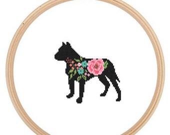 Pitbull Silhouette Cross Stitch Pattern Floral roses Pet animal wall art Dog cross stitch modern trendy great gift