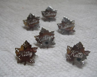 Liberty Silver Maple Leaf Name Pins Letter K