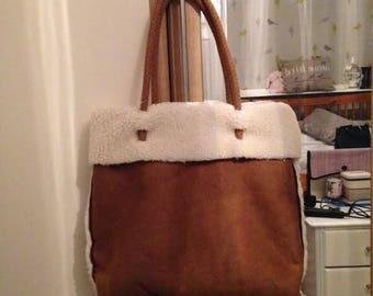 sheepskin style shopper bag