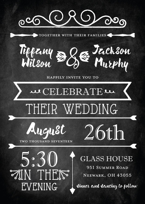 Chalkboard Wedding Invitations Blackboard Wedding Invitation