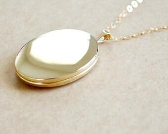 Large Gold Oval Locket Necklace - 14K Gold Filled