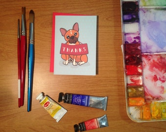 French Bulldog Thank You Notes. One Card or a Set of 6 or 10.