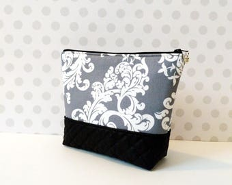MOVING SALE everything must go! Gray Damask Large Makeup Pouch
