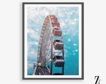 Ferris Wheel Print, Photography Wall Art, Ferris Wheel Art, Travel Photography, Travel Print, Nursery decor Prints, Modern Wall Art, Bokeh