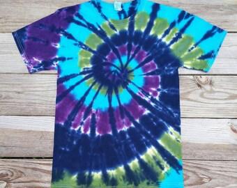 Womens Plus Size Tie Dye Shirt, 2XL 3XL 4XL 5XL 6XL, Blue Green and Purple, Hippie Top, Mens, Womens, Deadhead, Festival Shirt