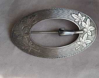 Gorgeous, heavy and substantial, large vintage sterling silver buckle sash pin
