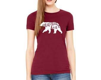 Mama bear Red Color Womens Fitted T-Shirt Available in all sizes and colors