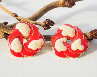 Vintage Enamel Earrings/ Cloud Earrings/ Vintage Earrings/ Vintage Jewelry/ Earrings/ 1980s Jewelry/ Enamel jewelry/ 80s Earrings