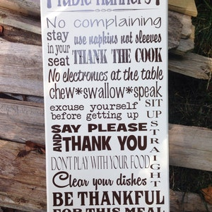 "Table Manners 12""x24"" sign"