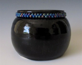 SALE... Embellished Vase. glossy black. beaded accents. special gift. blue trade beads.