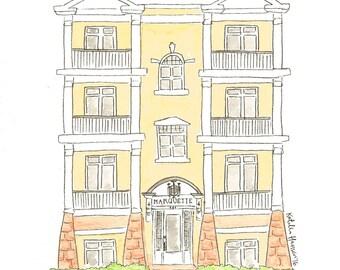 Custom Building Watercolor Illustration