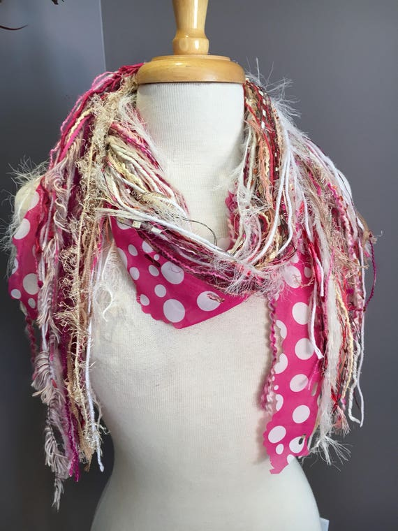 Art yarn scarf, Fringie in Pinkadot, Pink Scarf, Multitextural fringe scarf in grey pink white, boho, polka dot pink scarf, Valentine's Day