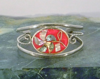 "Mexico Alpaca Silver 5-3/4"" Vintage Childs Cuff Bracelet Red Enamel Abalone Shell Inlay MM23"