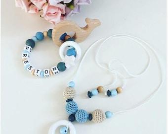 Silicone teething ring, nursing necklace set
