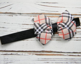Plaid Bow Headband - Baby Bow Headband - Girls Bow Headband