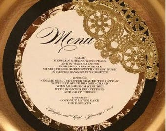 Black and Gold Round Menu Card