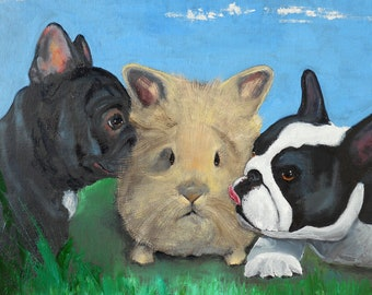 "French Bulldog Art Print of an original oil painting / ""French Kissers"" / 8""x10""/Bunny/Rabbit/Dog Art"