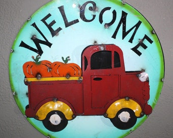 Metal CHEVY or FORD Truck Gas Oil Garage Man Cave Home Decor WELCOME Sign Dodge #2
