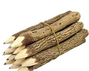 "Wood Pencils Rustic Wedding Lumber Jack Favors Graphite Pencils Branch Twig branch pencils Brides Favors outdoor pencils 5"" Long 12-Pack"