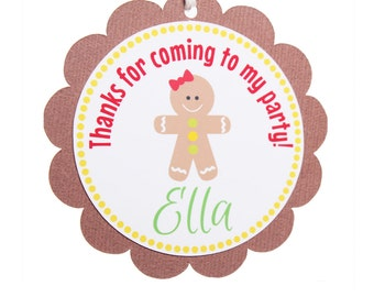 Gingerbread Party Favor Tags, Gingerbread Girl, Gingerbread Boy, Gingerbread Birthday, Gingerbread Man, Gingerbread Cupcake Topper