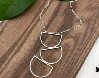 Lunar Pyramid Pendant Necklace / Sterling Silver Pendant Necklace / Silver Pendant Necklace / Silver Statement Necklace / Long Necklace
