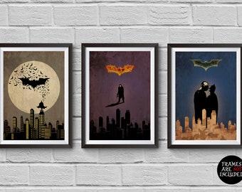 Batman Trilogy Minimalist Poster Set Batman Begins The Dark Knight The Dark Knight Rises Alternative Christopher Nolan Wall Artwork Hanging