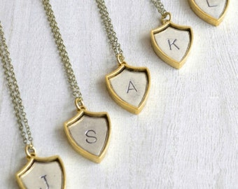 Initial Shield Necklace, personalized jewelry, bridemaids neckalces, rustic jewelry, vintage inspired