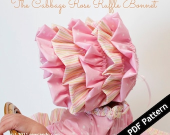 Sew Can Do Cabbage Rose Bonnet PDF Pattern