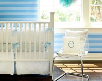 White Pique with Blue Trim Baby Bedding Set