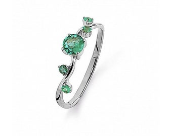 Minimal 14 CT K Gold 5 Emeralds Anniversay /Gift Ring,Modern 14K/Ct White Gold Engagement Emerald  Ring,5 Emeralds Gold Engagement Ring
