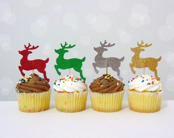 Reindeer Cupcake Toppers 12CT, Rudolph Toppers, Christmas Party Picks, Winter Birthday, Deer Hunters Decorations, Festive Toppers - No1122