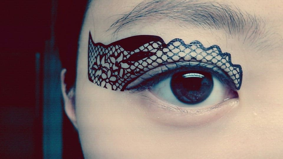 Temporary Tattoo Eye Makeup Eyeshadow Black Flower lace