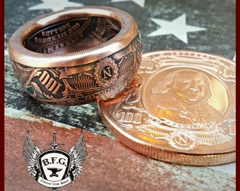 """BEN FRANKLIN """" Bank note Collectors series""""  1 oz Handcrafted .999 Pure Copper Coin Ring."""