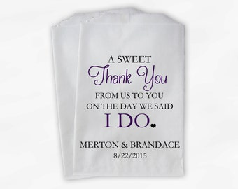 Wedding Candy Buffet Treat Bags - A Sweet Thank You Black & Dark Purple Personalized Favor Bags with Bride and Groom's Names and Date (0085)