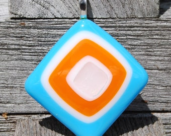 Fused Glass Pendant Turquoise, Tangerine and Dichroic Handmade Jewelry