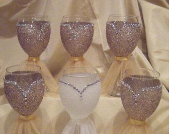 Bride and Bridesmaid Glittered Wine Glasses
