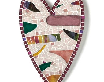 """Mosaic Heart, 12"""" Heart Wall decor in pink and burgundy"""