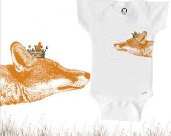 Organic fox onesie with crown, unique gender-neutral baby clothes, red fox