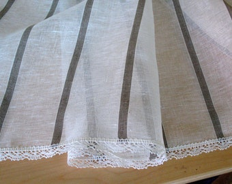 "Linen Tablecloth Striped Natural White Gray Linen Lace  59"" x 59"""