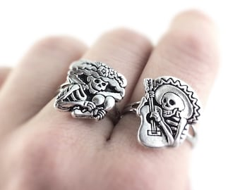 Sugar Skull Jewelry - Silver Sugar Skull Ring - Day of The Dead Jewelry - Dia De Los Muertos Jewelry - Best Friend Rings For Two 2 28A 29A