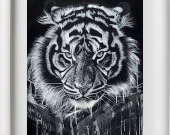 "Print with white stripe-print with white band ""Tigre"""