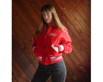 Red Embroidered Quilted Sport Bomber Jacket - Vintage 90s - XS/S
