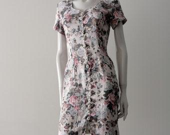 Vintage || LA BELLE || 1980s 90s Feminine White Floral Summer Dress with Button Front ||
