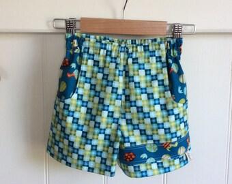 Little Boys Check Dinosaur Shorts