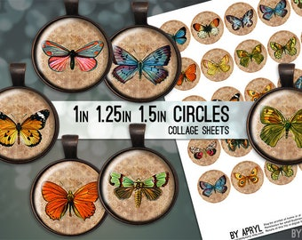 Digital Collage Sheet Vintage Butterflies 1 inch 1.25 and 1.5 Circles for Glass and Resin Pendants Bottle Caps Digital Download JPG