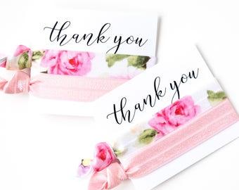 Floral Hair Tie Favors | Pink Floral Hair Tie Favors, Garden Party Shower, Vintage Floral Baby Shower Favor, Bridal Shower, Bridesmaid Gift